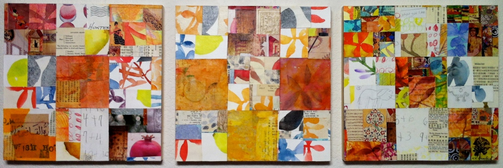"Mending Wall 6, ©2012, 38"" x 12,"" Paper, fabric, watercolor on panel"