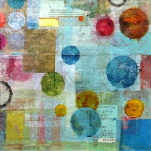 "Mending Wall 1,© 2012, H. Hunter, 12"" x 12,"" paper, watercolor on panel"
