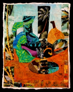 "Tropical Reverie, ©2010, H. Hunter, fabric, 9"" x 12,"" paper on paper"