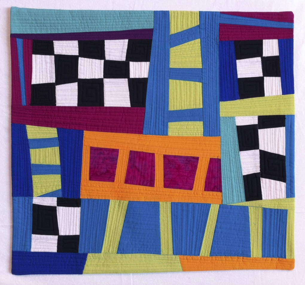 "Romp, ©2013, H. Hunter, 19"" x 18,"" Quilted cotton cloth"
